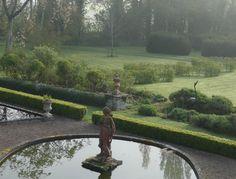 Oh to have lawns, terraces, ponds and statues. Gazebo Pergola, Gazebo Ideas, Garden Gazebo, Manor Garden, Pond Water Features, Garden Ponds, Pond Plants, Uk Holidays, Herefordshire
