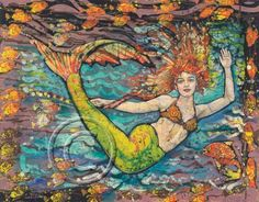 Gorgeous Batik print of mermaid and turtles by Janet Searfoss WOW