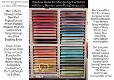 Stampin\' Up! rainbow order for cardstock for the 2021-2022 catalog, including In Colors. Patty Bennett www.PattyStamps.com Cardstock storage unit by Stamp-n-Storage Ink Pad Storage, Marker Storage, Craft Organisation, Room Organization, Lipstick Sale, Stampin Up Catalog, Craft Room Storage, Card Tutorials, Coordinating Colors