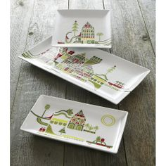Adorable dinnerware—Yule Town Plates for Christmas Entertaining (See other pieces available see other pins.)