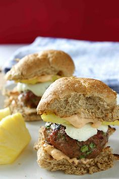 Smoky Burger Sliders with Grilled Pineapple & Chipotle Mayonnaise by cookincanuck #Burgers #cookincanuck