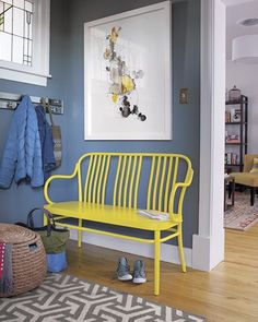 A colorful, vintage inspired sonny bench from Crate and Barrel.