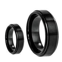 His & Her's 8MM/6MM Tungsten Carbide Black Enamel Step Edge Brushed Center Wedding Band Ring Set, Men's, Size: Ladies Size 9.5 - Mens Size 11.5