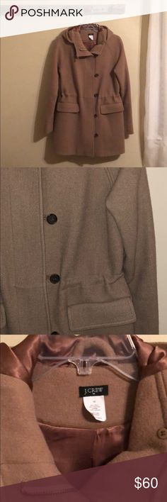 J. Crew toggle button hooded peacoat Camel colored J. crew peacoat. Gently used. Great condition for a everyday coat or dressed up. J. Crew Jackets & Coats Trench Coats