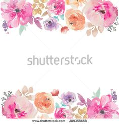 Colorful Watercolor Flower Border. Painted Flower Background. Painted Flower Border. Watercolor Flower Border