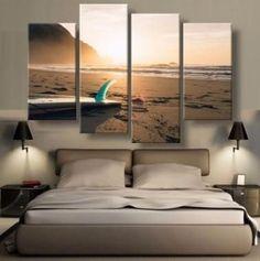 Beach Sunset Painting - 4 Piece Canvas