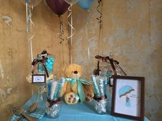 Blue, white and brown candy buffet table for a baby shower