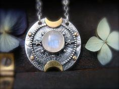lunar compass ... moonstone pendant