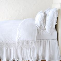Shop the Bella Notte Frida French Country Linen Lace Duvet Cover - White Queen and other Duvet Covers at Kathy Kuo Home French Country Bedding, French Country Bedrooms, White Duvet Covers, Bed Duvet Covers, White Pillows, Bed Pillows, Master Bedroom Design, Master Suite, Velvet Bed