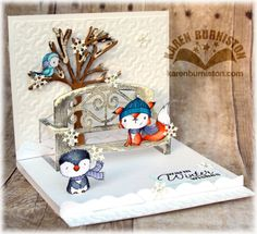 Using Pop it Ups Garden Bench, All Seasons Tree, Lucy Label and Trendy Tiles 1 Embossing folder by Karen Burniston for Elizabeth Craft Designs - Winter_Bench_Pop_it_Ups_Open_Angle Pop Up Box Cards, Flip Cards, Fancy Fold Cards, Folded Cards, Kirigami, Xmas Cards, Holiday Cards, Tarjetas Pop Up, Elizabeth Craft Designs