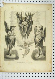 hierarchy of angels: Cherubim- four heads, human, ox, lion, and eagle. guard way to the Garden of Eden and God's throne. can choose the head they appear with or with all four. Seraph Angel, Cherub Tattoo, Seraphin, Vintage Holy Cards, Medieval Paintings, Christian Images, Ange Demon, Futuristic Art, Celtic Tattoos
