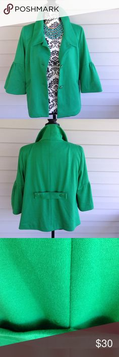 Josephine Irish Green Dress Coat But Josephine Essentials,  ruffle sleeves, button up front, Irish green, there is a small spot in the back waist line, it is hidden underneath the strip material that goes across the back (buttoned) size 10 Josephine Essentials Jackets & Coats Blazers