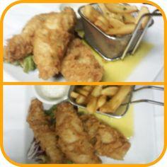 Lomitos de Pescado en Tempura con Patatas Fritas (Nuestra versión de Fish and Chips) Fish And Chips, Tempura, Chicken, Meat, Food, Chips, Oblivion, Restaurant, Essen