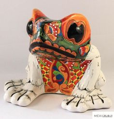 Frog Pot Talavera Pottery Planter Folk Art Day Dead Mexican Handmade Garden