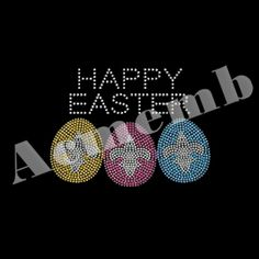 Colorful Eggs Wholesale Hot Fix Rhinestone Transfers For Easter Decoration