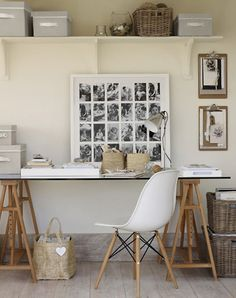 Office space in neutrals. Summer Atelier feel