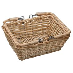 A lovely little Childs Wicker Rectangle Market Basket, just like the supermarket baskets. This basket has handles that fold down on either side, making access a lot easier. Could also be used anywhere in the house, from bottles on the bathroom shelf to packets in the kitchen cupboards. Willow baskets are very versatile.  These are much hardier and can be used outside as they will survive in all weathers.  Usually a stronger weave, they are very sturdy and solid.