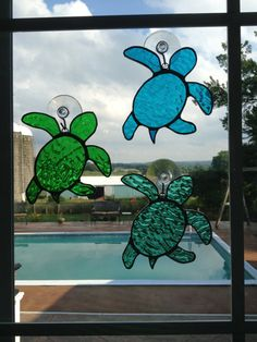 Handmade Stained Glass Sea Turtle Suncatcher by QTSG on Etsy