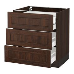 """SEKTION Base cabinet w/3 fronts & 4 drawers - wood effect brown, Edserum wood effect brown, 30x24x30 """", Ma - IKEA"""