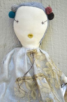 NEW jess brown HANDMADE rag doll with Metallic linen dress with LACE