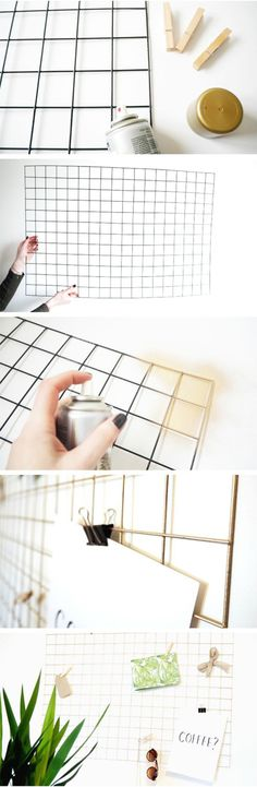 How To Make a DIY Gold Wire Memo Board. I'd be happy keeping it black.How To Make a DIY Gold Wire Memo Board. I'd be happy keeping it black. Memo Boards, Wire Memo Board, Cork Boards, Diy Cork Board, Wall Boards, Gold Diy, Home Projects, Craft Projects, Christmas Projects