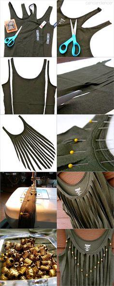 Como customizar camiseta regata com franjas