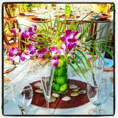 Tropical floral & fruit centerpiece
