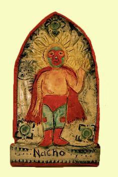 A personal favorite from my Etsy shop https://www.etsy.com/listing/212854827/mexican-folk-art-el-luchador-art-piece