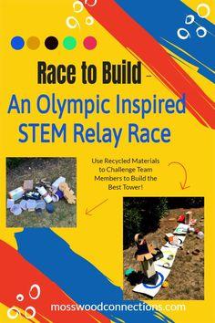 Olympic Inspired STEM Relay Race Math Activities For Kids, Gross Motor Activities, Steam Activities, Educational Activities, Motor Planning, Relay Races, Kids Moves, Summer School, Outdoor Fun