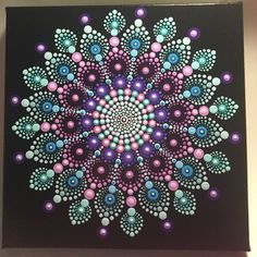 Hand Painted Mandala on Canvas, Meditation Mandala, Dot Art, Healing, Calming, #505 by MafaStones on Etsy
