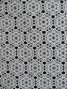STENCIL BLACK Yard of Fabric