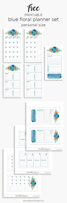 Blue floral planner calendar inserts | A5 and Personal size | free printable | day on one page | week on two pages | month on two pages | Watercolor planner pages | Filofax |