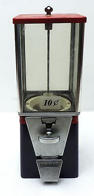 Vintage 10 Cent Oak Vending Gumball Machine with Key Blue Red | eBay