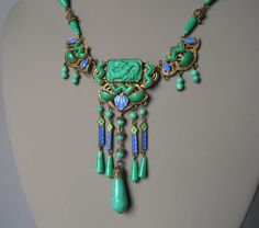 Vintage Art Deco MAX NEIGER CZECH NECKLACE Jade Glass/ Enamel DRAGON #MaxNeiger #ArtDeco
