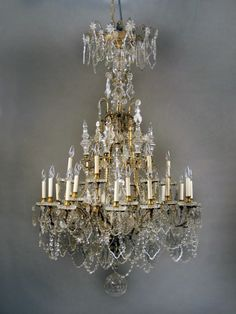 A Large and Fantastic Late 19th Century Gilt Bronze and Baccarat Crystal Thirty Light Chandelier