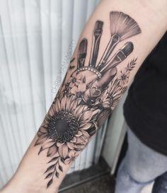 Tatuajes de maquillaje Beauty tattoo idea… Tattoos for beauty experts. Makeup tatto ideas Maquillje tattoo with brushes and lipsticks Cosmetology Tattoos, Hairdresser Tattoos, Hairstylist Tattoos, Cute Tattoos, Beautiful Tattoos, Body Art Tattoos, Small Tattoos, Sleeve Tattoos, Shear Tattoos