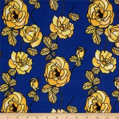ITY Jersey Knit Floral Blue/Yellow from @fabricdotcom  This silky ITY jersey knit is perfect for creating flowy tops, fuller skirts and drapey dresses with a lining. It has a super smooth hand, fluid drape and about 40% stretch across the grain for comfort and ease.