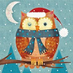 Pack of 8 Mini Christmas Owl Multiple Sclerosis Charity Christmas Cards