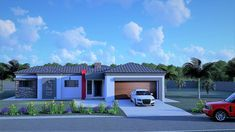 3 Bedroom House Plan – My Building Plans South Africa Architect Fees, Single Storey House Plans, Construction Drawings, Bedroom House Plans, Building Plans, Windows And Doors, Mj, South Africa, Floor Plans