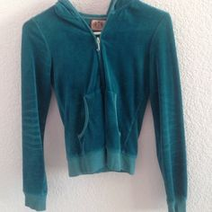 Juicy Couture Jacket Turquoise juicy jacket with pink crown and JUICY on the back! In great condition and I take offers!!!! Juicy Couture Jackets & Coats