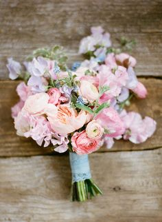 ryan ray and bows + arrows bouquet of lavender, peach, and pink