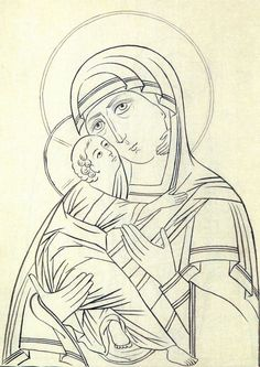 Byzantine Icons, Byzantine Art, Religious Icons, Religious Art, Madonna, Coloring Books, Coloring Pages, Picasso Portraits, Prayer Corner