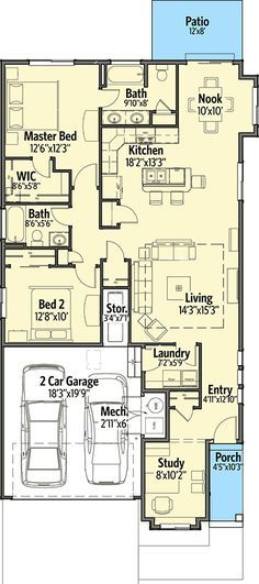 Plan 64411SC: Narrow Lot Craftsman With 2 Beds