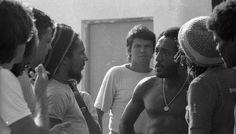 "Rio de Janeiro, Brasil, March 1980: Bob Marley talks with Paulo Cesar ""Caju"", Brazilian football player Tri Champion in FIFA's World Cup Mexico 1970."