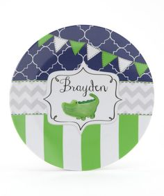 Take a look at this Navy & Green Alligator Personalized Plate by Farmhousefive Art for Kids on #zulily today!