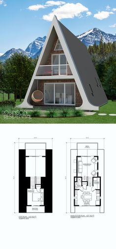 is a 600 sq., 1 bedroom, 1 bath A-frame A Frame House Plans, A Frame Cabin, Small House Plans, Future House, Triangle House, Unique Floor Plans, House Stairs, Style At Home, Home Design