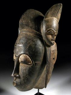 "BAOULE ' - Ivory Coast Mask female portrait "" Mblo "" Hardwood, pigments , kaolin."