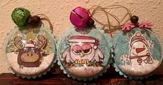 Ornaments by SPARKS DT Larissa Heskett PS stamp sets: Chubby Chum Pals, Freezy Fellas, Hooties, Santa Paws; PS dies: Fellas, Borders 1, Chums, Owl Icons, Scalloped Circles, Snowflakes