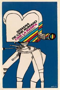 SEMANA DE CINEMA RUMANO, Eduardo Muñoz Bachs, 1974 manifesto/poster - serigrafia/silk screen Realizzato in occasione della settimana del cinema rumeno, 1974/Made on the occasion of the week of Romanian cinema, 1974 Coll. Bardellotto Centro Studi Cartel Cubano Saul Bass, Illustrations, Illustration Art, Pop Art, Sangria, Cover, Projects To Try, Poster Prints, Vintage