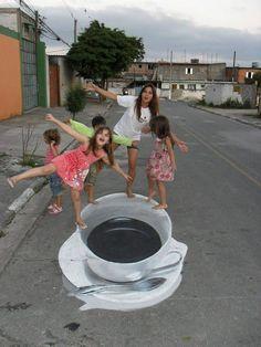 3d chalk art street optical illusin paints pictures amazing